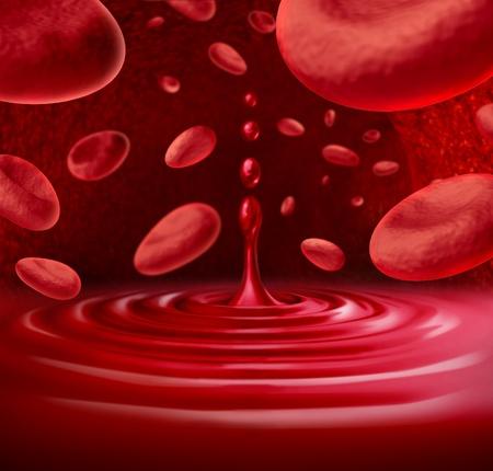 vasos sanguineos: Símbolo de la sangre humana con células de la sangre que fluye a través de una vena o arteria con un charco de sangre y un chorrito representa el concepto de donación y la atención de salud médica.