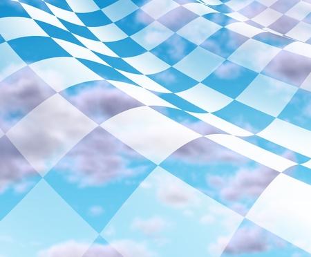 primer lugar: Cielo con la bandera a cuadros con cuadros blanco y negro que representan el concepto de lugar ganador y por primera vez en la final de la competici�n. Foto de archivo
