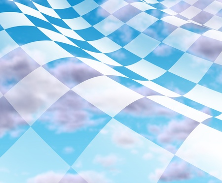 Sky with checkered Flag with white and black squares representing the concept of winning and first place at the end of the competition. photo