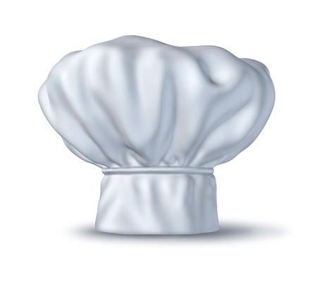 foodie: Chef hat isolated on white representing the symbol of gourmetcuisine and culinary hat clothing used in Italian and French restaurants