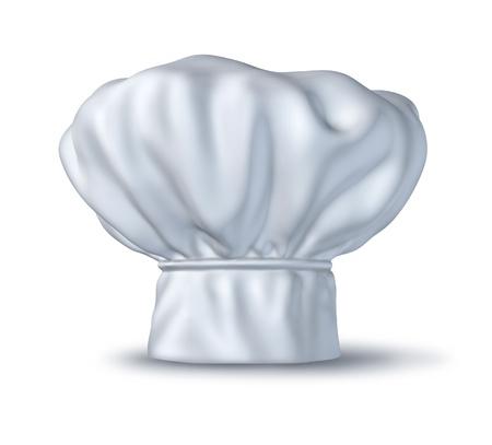 chapeau chef: Le chef chapeau isol� sur blanc repr�sentant le symbole de gourmetcuisine et des v�tements chapeau culinaire utilis�s dans les restaurants italiens et fran�ais