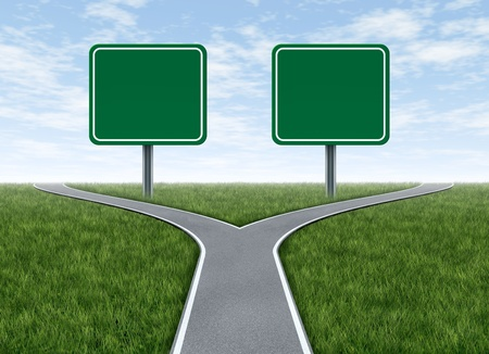 highway signs: Two options with blank road signs facing a challenging decision symbol represented by a forked road for turning in the direction that is chosen after facing the difficult dilemma. Stock Photo