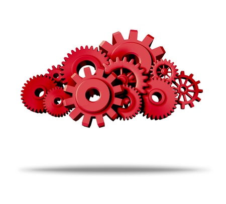 programs: cloud computing red symbol representing servers virtual apps for computers and mobile devices featuring gears and cogs isolated on white with shadow. Stock Photo