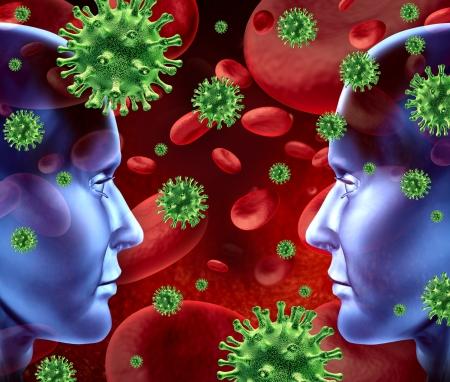 bacterial: Contagiosa malattia virale nel simbolo del sangue che rappresenta un concetto medico sanitario di trasferimento batterico e la diffusione di infezioni da trasfusioni umano che mostra due teste umane faccia a faccia. Archivio Fotografico