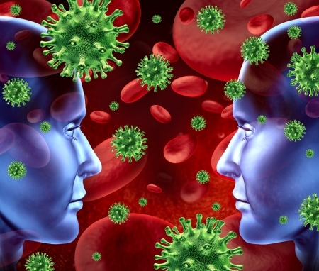 human immune system: Contagious viral disease in the blood symbol representing a medical health concept of bacterial transfer and spread of infections from human transfusions showing two human heads face to face. Stock Photo
