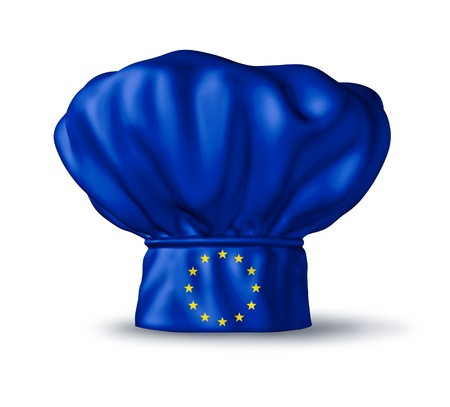 European food symbol represented by a chef hat with the flag of Europe isolated on white featuring gourmet countries like Italy and France.
