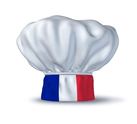 french cuisine: French cooking symbol represented by a chef hat with the flag of Italy isolated on white.