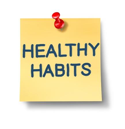 Nota de Oficina de hábitos saludables que representa el concepto de buena salud orientada a comportamiento rutina que implica mental y opciones de salud física para el bienestar humano y un estilo de vida con éxito.