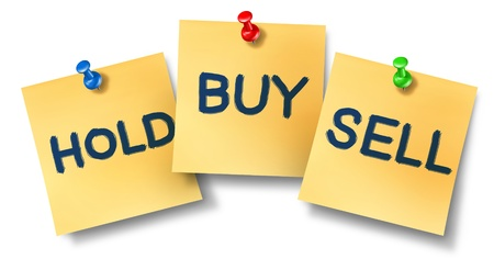 Buy sell hold office notes representing the stock market exchange trading concept for wall street brokers and investors investing in equities or selling their company ownership.