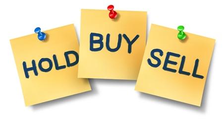 votaciones: Compra-venta de sostener las notas que representan a la oficina de la bolsa de valores concepto de comercio para los corredores de Wall Street y los inversores que invierten en renta variable o vender su propiedad de la compa��a. Foto de archivo