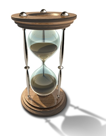 Hourglass time clock with sands of time running out representing a deadline or aging isolated. photo