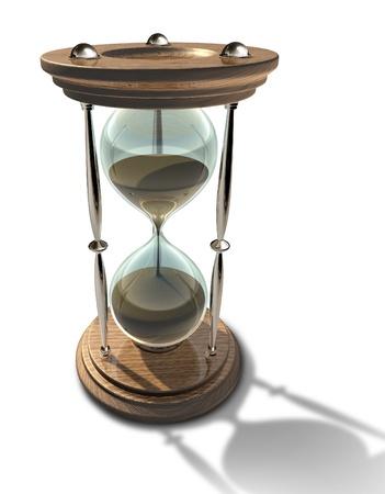 Zandloper klok met zand van de tijd raakt op die een deadline of ouder geïsoleerd. Stockfoto