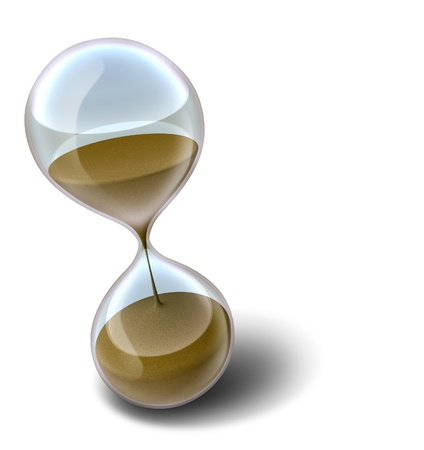 sands of time: Hourglass time clock with sands of time running out representing a deadline or countdown that results in stress. Stock Photo