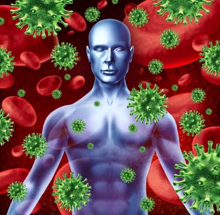 bacterial infection: Enfermedad humana y la infecci�n que representa un concepto de salud m�dica de transferencia de virus bacteriano y propagaci�n de las infecciones de transfusiones humanas mostrando la parte superior del cuerpo de un paciente torso. Foto de archivo