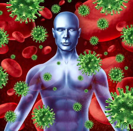bacterial infection: Human disease and infection representing a medical health concept of bacterial virus transfer and spread of infections from human transfusions showing the upper body of a patient torso. Stock Photo