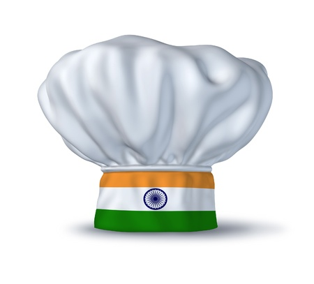 Indian food symbol represented by a chef hat with the flag of India isolated on white.