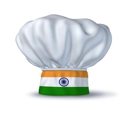 gorro chef: S�mbolo de comida India representado por un sombrero de chef con la bandera de la India aislada sobre fondo blanco.