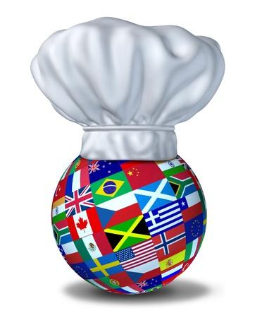 International voedingsmiddelen en gerechten van de wereld vertegenwoordigd door een chef-kok hoed en vlaggen van de landen op een bol op de vloer rust.