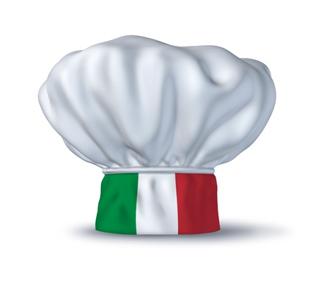 Italian food symbol represented by a chef hat with the flag of Italy isolated on white. Stock Photo - 10892040