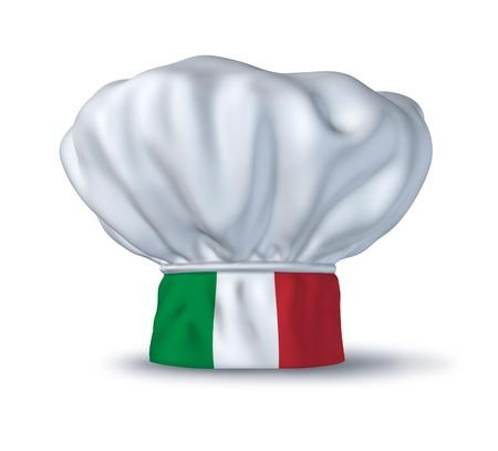 Símbolo de comida italiana representado por un sombrero de chef con la bandera de Italia aislada sobre fondo blanco. Foto de archivo