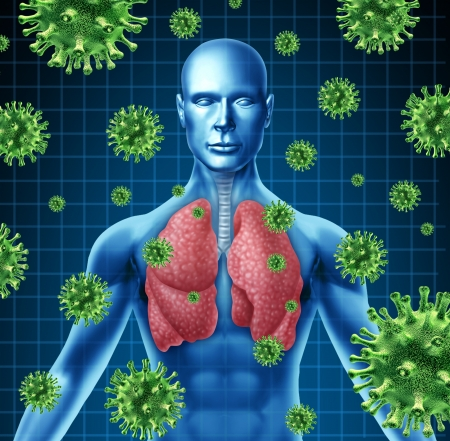 Lung infection represented by a human with x-ray image of the lungs and body with virus cells attacking the patient to a state of dangerous respiratory illness.