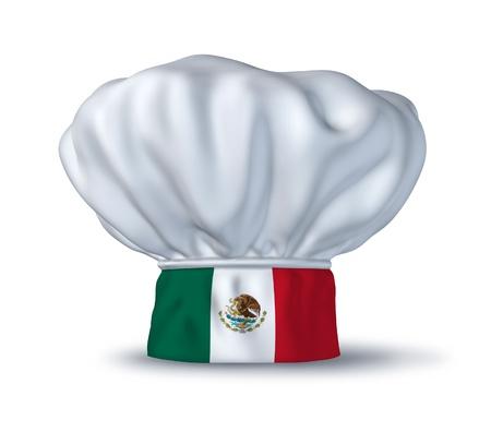 gorro chef: S�mbolo de comida mexicana representado por un sombrero de chef con la bandera de M�xico aislado en blanco.