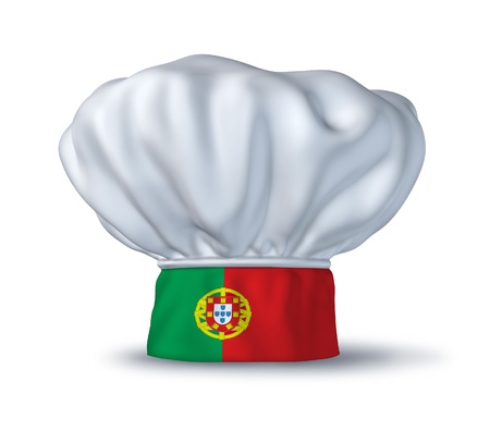 portugese: Portugese food symbol represented by a chef hat with the flag of Portugal isolated on white. Stock Photo