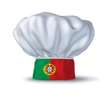 bandera de portugal: S�mbolo de alimentos en portugu�s representado por un sombrero de chef con la bandera de Portugal aislada sobre fondo blanco.