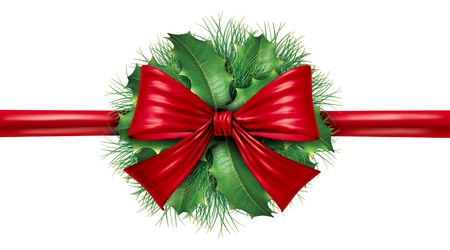 Red silk bow with pine border and circular ornamental holiday decoration for Christmas festive winter celebration on a white background.