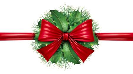 slingers: Rood zijden strik met grenen rand en ronde sier vakantie decoratie voor kerst feestelijk winter viering op een witte achtergrond. Stockfoto