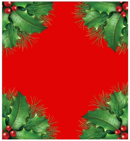 Holly with pine branches and red berries for a seasona christmas holiday decorative evergreen border frame representing festive winter garland ornament on a red background.