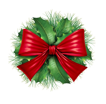 Red silk bow with pine circular ornamental holiday decoration for Christmas festive winter celebration on a white background.