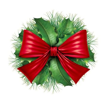 Rood zijden strik met grenen ronde sier vakantie decoratie voor kerst feestelijk winter viering op een witte achtergrond. Stockfoto