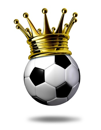 balón: Fútbol campeón símbolo representado por una corona de oro sobre un balón de fútbol blanco y negro o como se pide en Europa un partido de fútbol que representa la conquista de un torneo o un juego.