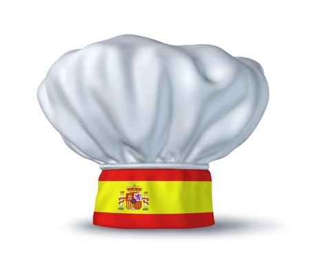 Spaans eten symbool vertegenwoordigd door een chef-kok hoed met de vlag van Spanje geïsoleerd op wit. Stockfoto