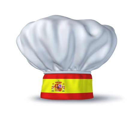foodie: Spanish food symbol represented by a chef hat with the flag of Spain isolated on white. Stock Photo