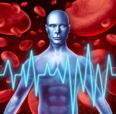 Stroke and heart attack warning signs medical symbol including loss of strenght and numbness trouble speaking and vision problems caused by poor blood health and circulation. photo