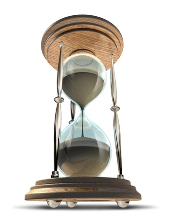 Hourglass symbol in a forced perspective view showing the importance of time and management.
