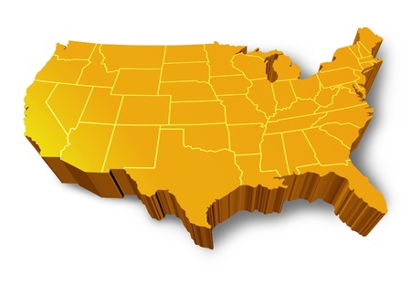 usa map: U.S.A 3D map symbol represented by a gold and yellow dimensional United States of America.