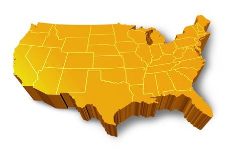 USA 3D Kaartsymbool vertegenwoordigd door een goud en geel dimensionale Verenigde Staten van Amerika.