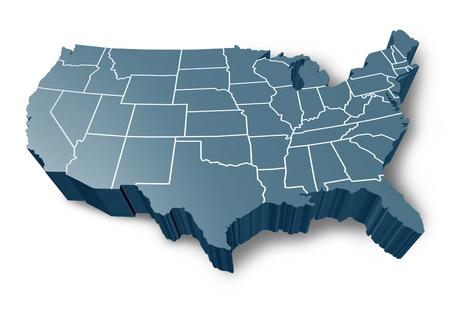 Etats-Unis carte 3D symbole représenté par un gris dimensions États-Unis d'Amérique.