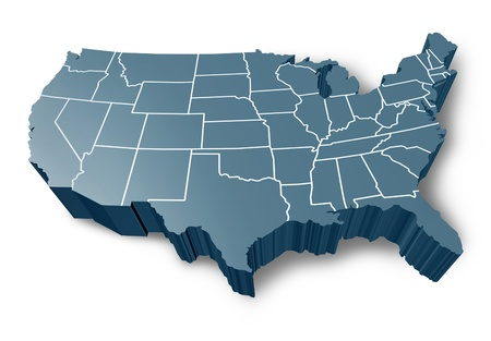 map of usa: U.S.A 3D map symbol represented by a grey dimensional United States of America. Stock Photo