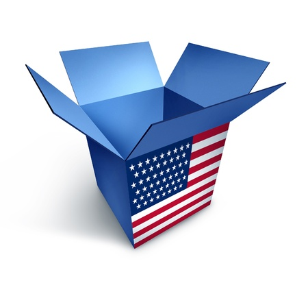American made goods box representing the economy of the United States as a consumer trade symbol isolated on white. Stock Photo - 10892105