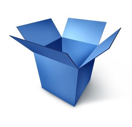 Ouvert boîte bleue isolé sur blanc avec une ombre qui représente le concept de l'attribution et le don.