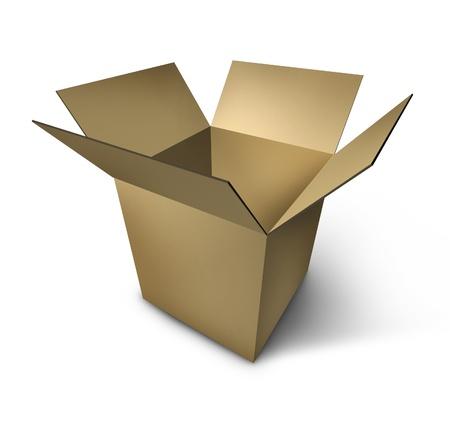 pappkarton: er�ffnet Karton-Paket, das leer ist und isoliert auf wei�