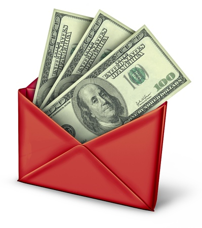 tax refund: Mail in rebate in white envelope with money payment of refund inside.