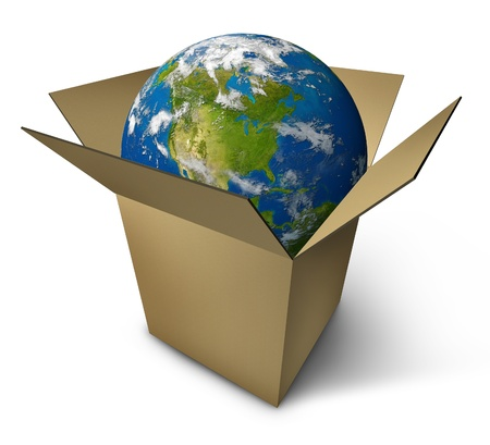 merchandise: Earth in a box with a planet featuring north america representing international cargo merchandise delivered in a container.