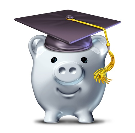 college fund savings: Saving for an education represented by a graduation school mortar board and a savings piggy bank. Stock Photo