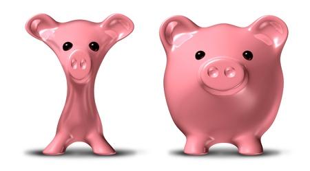 コスト削減と予算の多くの重量を失ったが、細いピンクのブタ貯金 piggybank で表される記号の前後に。 写真素材