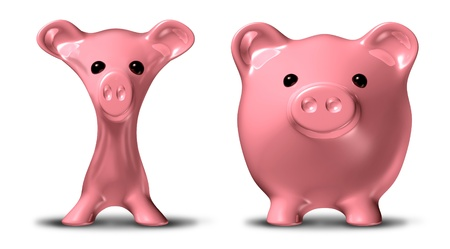 gastos: Cost cutting and budgeting before and after symbol represented by a skinny pink pig savings piggybank that has lost much weight.